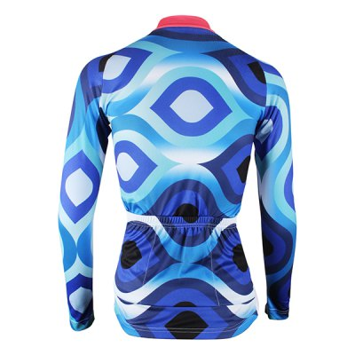 Blue Pattern Women Cycling Suit Long Sleeve Jersey Pants Set Bike Bicycle Racing Clothes от GearBest.com INT