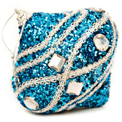 Blue 8cm Rhinestone Christmas Ball Foam Pendant for Christmas Tree