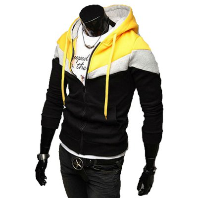 Гаджет   Casual Style Hooded Fashion Color Splicing Slimming Long Sleeves Men