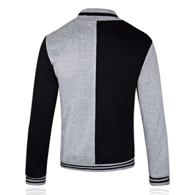 Гаджет   Slimming Stand Collar Fashion Color Splicing Long Sleeves Men