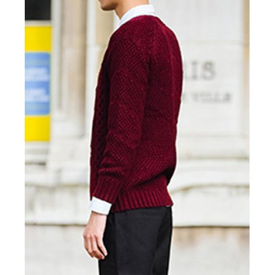 Гаджет   Stylish Round Neck Fitted Solid Color Skull Kink Long Sleeve Thicken Cotton Blend Sweater For Men Sweaters & Cardigans