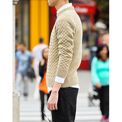 Гаджет   Stylish Round Neck Fitted Solid Color Ripple Kink Long Sleeve Cotton Blend Sweater For Men