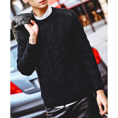 Гаджет   Stylish Round Neck Fitted Solid Color Kink Long Sleeve Cotton Blend Sweater For Men Sweaters & Cardigans