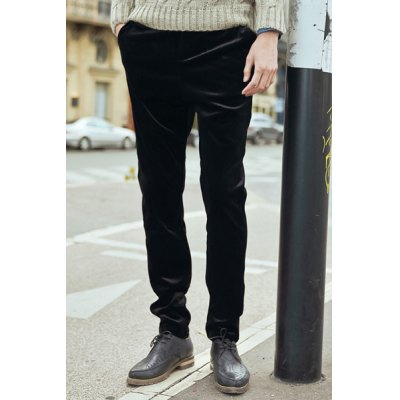 Гаджет   Slimming Fashion Lace-Up Solid Color Straight Leg Velour Pants For Men