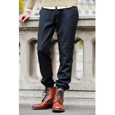 Гаджет   Slimming Fashion Simple Solid Color Beam Feet Polyester Pants For Men