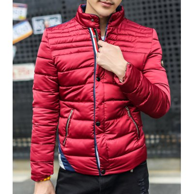 Гаджет   Stylish Stand Collar Slimming Colorful Stripes Splicing Zipper Design Long Sleeve Thicken Cotton Blend Coat For Men Jackets & Coats