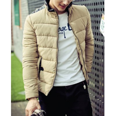 Гаджет   Stylish Stand Collar Slimming PU Leather Splicing Zipper Design Long Sleeve Thicken Cotton Blend Coat For Men Jackets & Coats