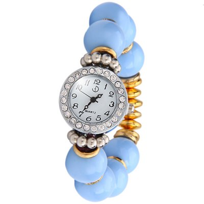 Гаджет   Women Beads Quartz Watch Round Dial Elastic Band