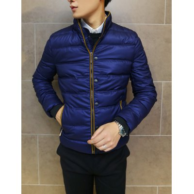 Гаджет   Stylish Stand Collar Slimming Color Block Buttons Embellished Long Sleeve Thicken Cotton Blend Coat For Men Jackets & Coats
