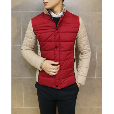 ФОТО Stylish Stand Collar Slimming Color Block Splicing Long Sleeve Thicken Cotton Blend Coat For Men
