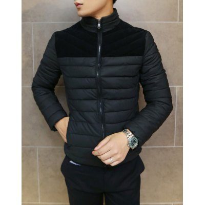 Гаджет   Stylish Stand Collar Slimming Fabric Splicing Color Block Long Sleeve Thicken Cotton Blend Coat For Men Jackets & Coats