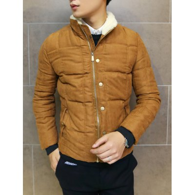 Гаджет   Stylish Stand Collar Slimming Button Design Rib Splicing Long Sleeve Thicken Cotton Blend Coat For Men Jackets & Coats