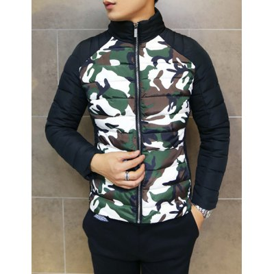 Гаджет   Stylish Stand Collar Slimming Color Block Camo Splicing Long Sleeve Thicken Cotton Blend Coat For Men Jackets & Coats
