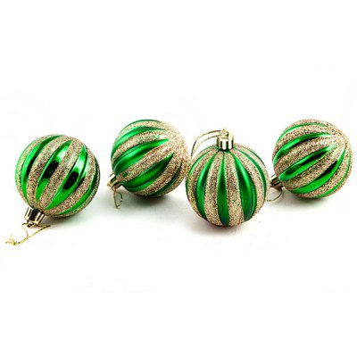 Гаджет   Christmas Tree Ornaments Gold Glitter Sequins Xmas Ball  -  4 pcs Christmas Supplies