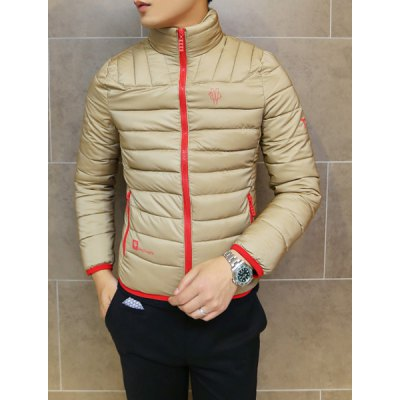 ФОТО Stylish Stand Collar Slimming Color Block Print Zipper Design Long Sleeve Thicken Cotton Blend Coat For Men