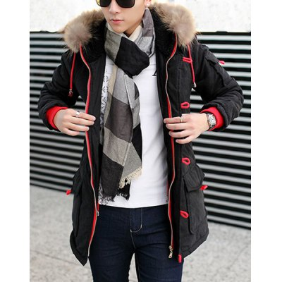 Гаджет   Stylish Hooded Slimming Large Pocket Color Block Rib Splicing Long Sleeve Thicken Cotton Blend Coat For Men Jackets & Coats