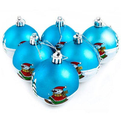 8CM Handprint Snowman Christmas Ball Ornaments Family Keepsake Ornament (6 PCs)