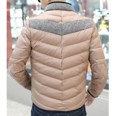 Гаджет   Stylish Stand Collar Slimming Pocket Design Color Splicing Long Sleeve Thicken Cotton Blend Coat For Men Jackets & Coats