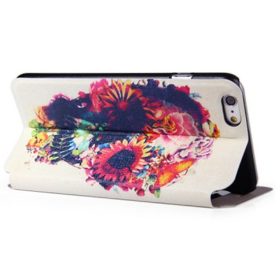 Фотография Fashionable Skull Flower Pattern PC and PU Material Protective Cover Case