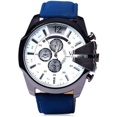V6 V0201 Nubuck Leather Band Male Quartz Watch with Decorative Sub - dials Fashion DialMens Watches<br>V6 V0201 Nubuck Leather Band Male Quartz Watch with Decorative Sub - dials Fashion Dial<br><br>Brand: V6<br>Watches categories: Male table<br>Watch style: Fashion<br>Available color: White, Blue, Green, Brown, Brown and Gold, Black<br>Movement type: Quartz watch<br>Shape of the dial: Round<br>Display type: Analog<br>Case material: Stainless steel<br>Band material: Leather<br>Clasp type: Pin buckle<br>Special features: Decorating small sub-dials<br>The dial thickness: 1.3 cm / 0.51 inch<br>The dial diameter: 5.5 cm / 2.16 inch<br>The band width: 2.5 cm / 0.98 inch<br>Product weight: 0.089 kg<br>Package weight: 0.139 kg<br>Product size (L x W x H): 26.7 x 5.5 x 1.3 cm / 10.49 x 2.16 x 0.51 inches<br>Package size (L x W x H): 27.7 x 6.5 x 2.3 cm / 10.89 x 2.55 x 0.90 inches<br>Package Contents: 1 x V6 V0201 Watch