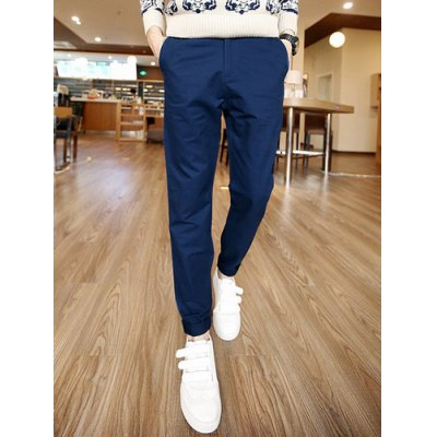 Гаджет   Slimming Fashion Buttons Design PU Leather Embellished Straight Leg Cotton Blend Pants For Men