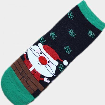 Фотография Pairs of Cute Diversified Cartoon Chrismas Figure Pattern Color Block Socks For Women