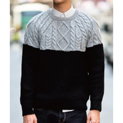 Гаджет   Trendy Round Neck Loose-Fitting Rhombus Print Color Block Long Sleeves Men
