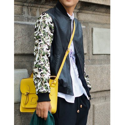 Гаджет   Stylish Stand Collar Slimming Color Block Camo Splicing Long Sleeve PU Leather Jacket For Men Jackets & Coats