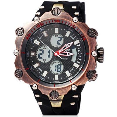 Hpolw 619 Dual Movt LED Watch Week Alarm Date Stopwatch 3ATM Water ResistantSports Watches<br>Hpolw 619 Dual Movt LED Watch Week Alarm Date Stopwatch 3ATM Water Resistant<br><br>People: Male table<br>Watch style: Fashion&amp;Casual, Business, Outdoor Sports, LED<br>Available color: Multi-Color, Black, White, Gold<br>Shape of the dial: Round<br>Movement type: Double-movtz<br>Display type: Analog-Digital<br>Case material: Stainless Steel<br>Band material: Rubber<br>Clasp type: Pin buckle<br>Special features: Week, Alarm clock, Stopwatch, Light, Date<br>Water Resistance: 30 meters<br>The dial thickness: 2.0 cm / 0.8 inches<br>The dial diameter: 5.0 cm / 2.0 inches<br>The band width: 2.4 cm / 0.9 inches<br>Product weight: 0.148 kg<br>Package weight: 0.21 kg<br>Product size (L x W x H) : 26 x 5.0 x 2.0 cm / 10.2 x 2.0 x 0.8 inches<br>Package size (L x W x H): 7.6 x 7.6 x 8 cm<br>Package contents: 1 x Watch, 1 x Box