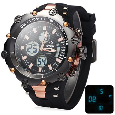 Hpolw 619 Dual Movt LED Watch Week Alarm Date Stopwatch 3ATM Water Resistant
