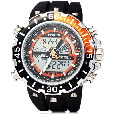 Гаджет   Hpolw 601 LED Watch Japan Movt Double Time Alarm Week Date 3ATM Water Resistant Sports Watches