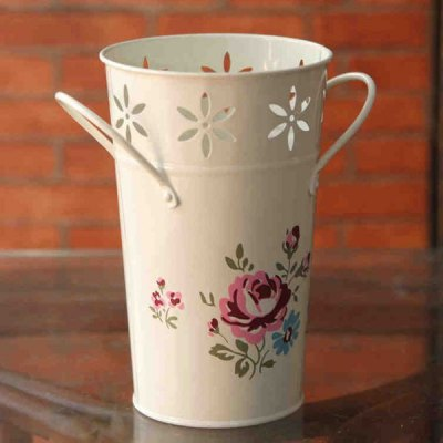 Delicate European Rural Countryside Painted Wrought Iron Flower Arrangement Vase Decoration Handicraft