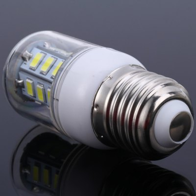 5W E27 SMD 5730 24 - LEDs Transparent Shelled Dimmable LED Corn Bulb  -  White Light 110VLED Light Bulbs<br>5W E27 SMD 5730 24 - LEDs Transparent Shelled Dimmable LED Corn Bulb  -  White Light 110V<br><br>Base Type: E27<br>Type: Corn Bulbs<br>Output Power: 5W<br>Emitter Type: SMD-5730 LED<br>Total Emitters: 24 LEDs<br>Voltage (V): 110V<br>Appearance: Transparent Cover<br>Features: Long Life Expectancy, Dimmable, Energy Saving, Low Power Consumption<br>Function: Home Lighting, Commercial Lighting, Studio and Exhibition Lighting<br>Available Light Color: Cold White, Warm White<br>Sheathing Material: Plastic<br>Product Weight: 0.027 kg<br>Package Weight: 0.05 kg<br>Product Size (L x W x H): 7.5 x 2.9 x 2.9 cm / 2.95 x 1.14 x 1.14 inches<br>Package Size (L x W x H): 9 x 4 x 4 cm<br>Package Contents: 1 x E27 5W 24 SMD-5730 110V White Light Dimmable Corn Light