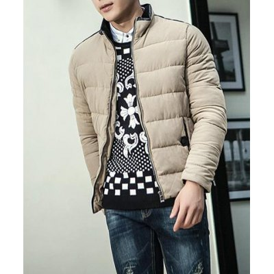 Гаджет   Fashion Style Stand Collar Slimming Color Block PU Leather Splicing Long Sleeves Men