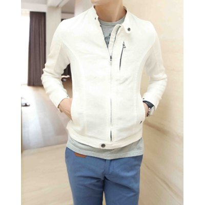 Гаджет   Laconic Stand Collar Zipper Embellished Slimming Solid Color Long Sleeves Men