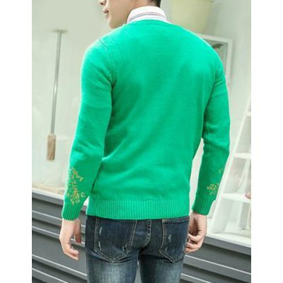 Гаджет   Modern Style Round Neck Slimming Ethnic Abstract Embroidery Long Sleeves Men