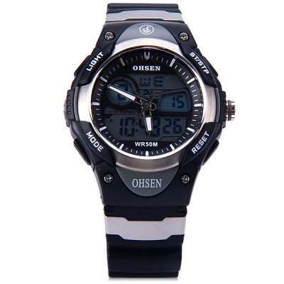 Гаджет   OHsen 2819 Sports Military Dual Time LED Watch Alarm Stopwatch 5ATM Water Resistant
