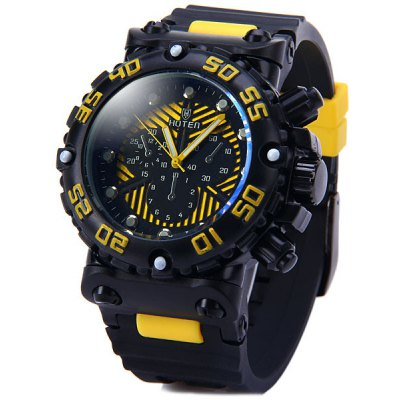 Hoten Men Quartz Watch Rubber Strap Round Dial