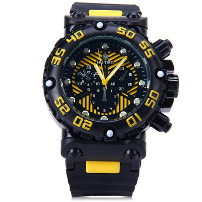 Hoten Men Quartz Watch Rubber Strap Round DialMens Watches<br>Hoten Men Quartz Watch Rubber Strap Round Dial<br><br>Watches categories: Male table<br>Watch style: Casual<br>Available color: Red, Blue, Green, Yellow<br>Movement type: Quartz watch<br>Shape of the dial: Round<br>Display type: Analog<br>Case material: Stainless steel<br>Band material: Rubber<br>Clasp type: Pin buckle<br>Special features: Decorating small sub-dials<br>The dial thickness: 1.8 cm / 0.7 inches<br>The dial diameter: 5.5 cm / 2.2 inches<br>The band width: 2.5 cm / 1.0 inches<br>Product weight: 0.128 kg<br>Product size (L x W x H): 28 x 5.5 x 1.8 cm / 11 x 2.2 x 0.7 inches<br>Package Contents: 1 x Watch