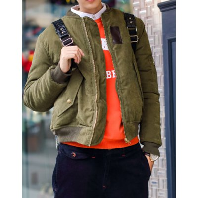 Гаджет   Stylish Stand Collar Slimming PU Leather Design Cotton Liner Long Sleeve Cotton Blend Coat For Men Jackets & Coats