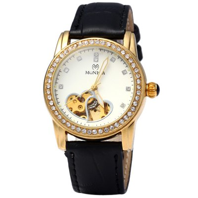 ФОТО Monica 6852 Hollow - out Diamond Ladies Automatic Mechanical Watch Round Dial Leather Strap