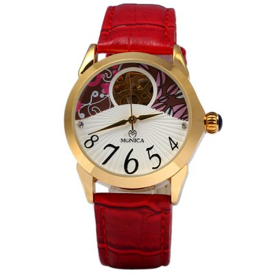ФОТО Monica 6854 Female Automatic Mechanical Watch Hollow - out Round Dial Leather Strap
