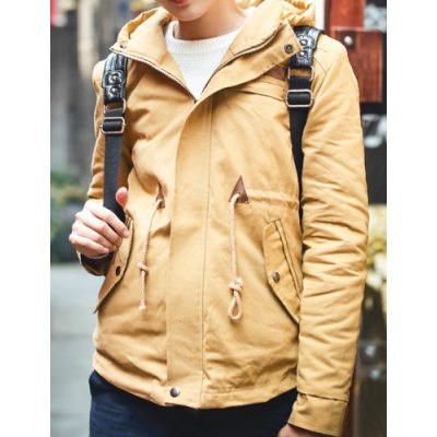 Гаджет   Stylish Hooded Slimming PU Leather Design Drawstring Cotton Liner Long Sleeve Cotton Blend Coat For Men Jackets & Coats
