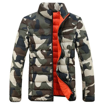 Гаджет   Stylish Stand Collar Slimming Camo Print Cotton Liner Long Sleeve Polyester Coat For Men Jackets & Coats