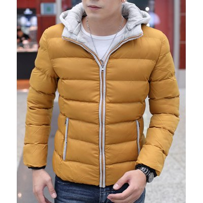 Гаджет   Stylish Hooded Fitted Color Block Cotton Liner Long Sleeve Polyester Coat For Men Jackets & Coats