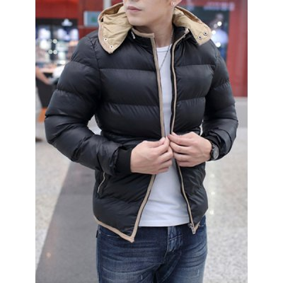 Гаджет   Stylish Hooded Slimming Color Block Hemming Cotton Liner Long Sleeve Polyester Coat For Men Jackets & Coats