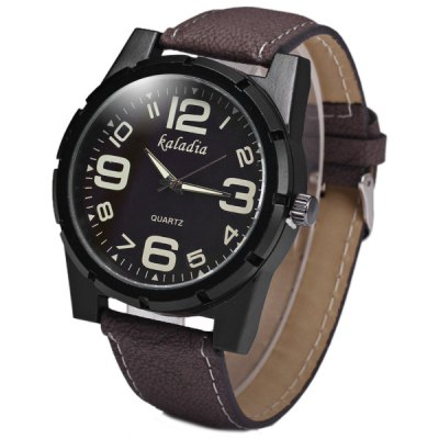 Kaladia Quartz Male Watch Round Dial Leather Watchband