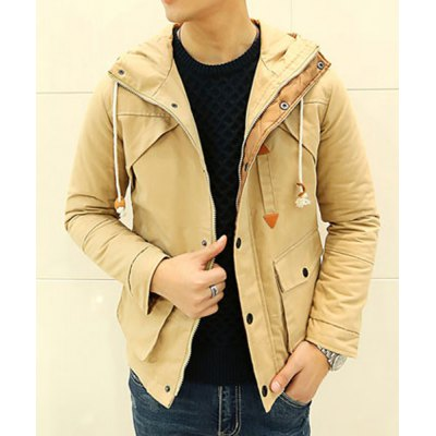 Гаджет   Fashionable Hooded Solid Color Slimming PU Leather Embellished Long Sleeves Men