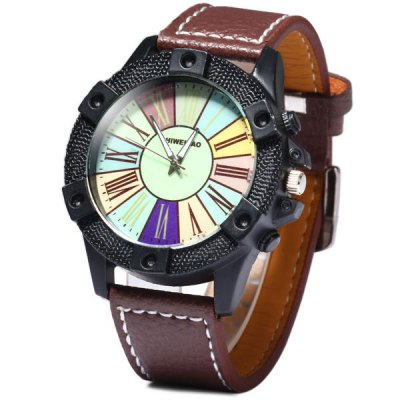 Shiweibao A3018 Quartz Male Watch Analog with Colourful Round Dial and Roman Numerals Display