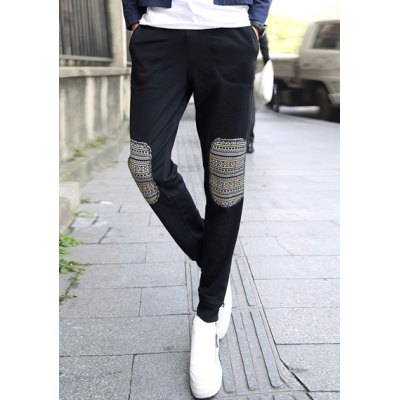 Гаджет   Thicken Slimming Trendy Lace-Up Ethnic Patches Splicing Narrow Feet Cotton Blend Sweatpants For Men Pants